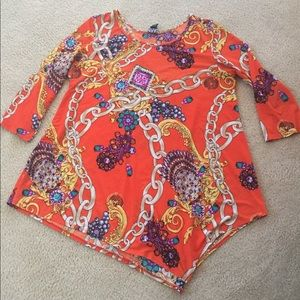 Ciara Sun Woo Asymmetrical Tunic XL Orange Print